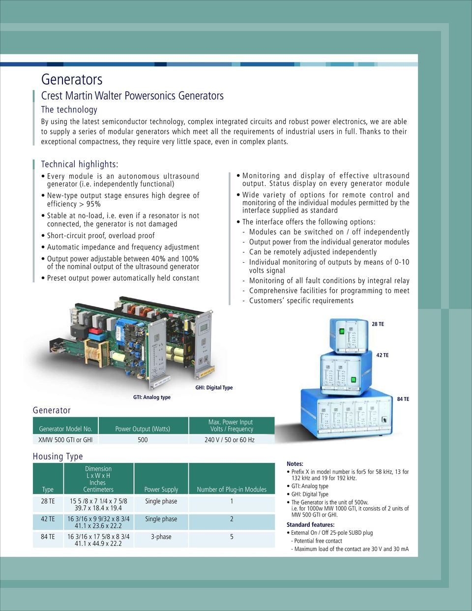 ultrasonic tanks, generators, immersible and push pull transducerstechnical highlights every module is an autonomous ultrasound generator (i e independently functional) new