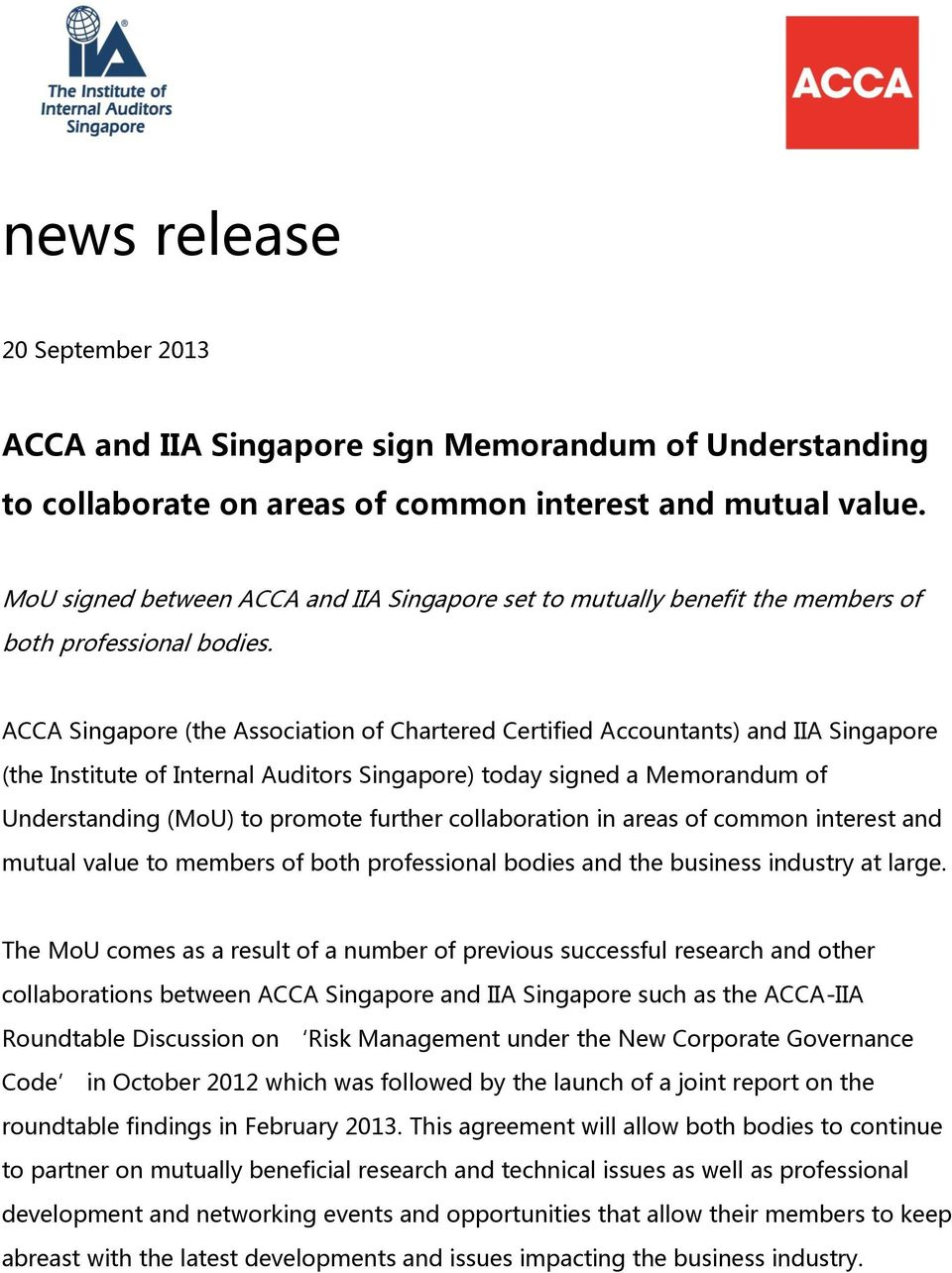 ACCA and IIA Singapore sign Memorandum of Understanding  to