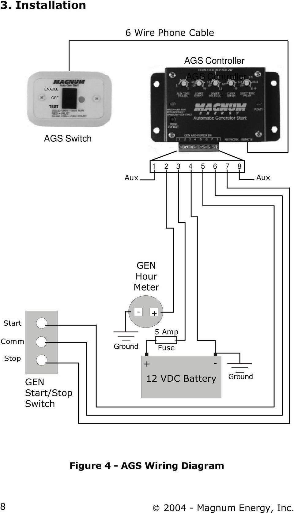 Me Ags Auto Gen Start Stand Alone System For Coach Generators 12 Vdc Wiring Diagrams Comm Stop Switch 5 Amp Ground Fuse