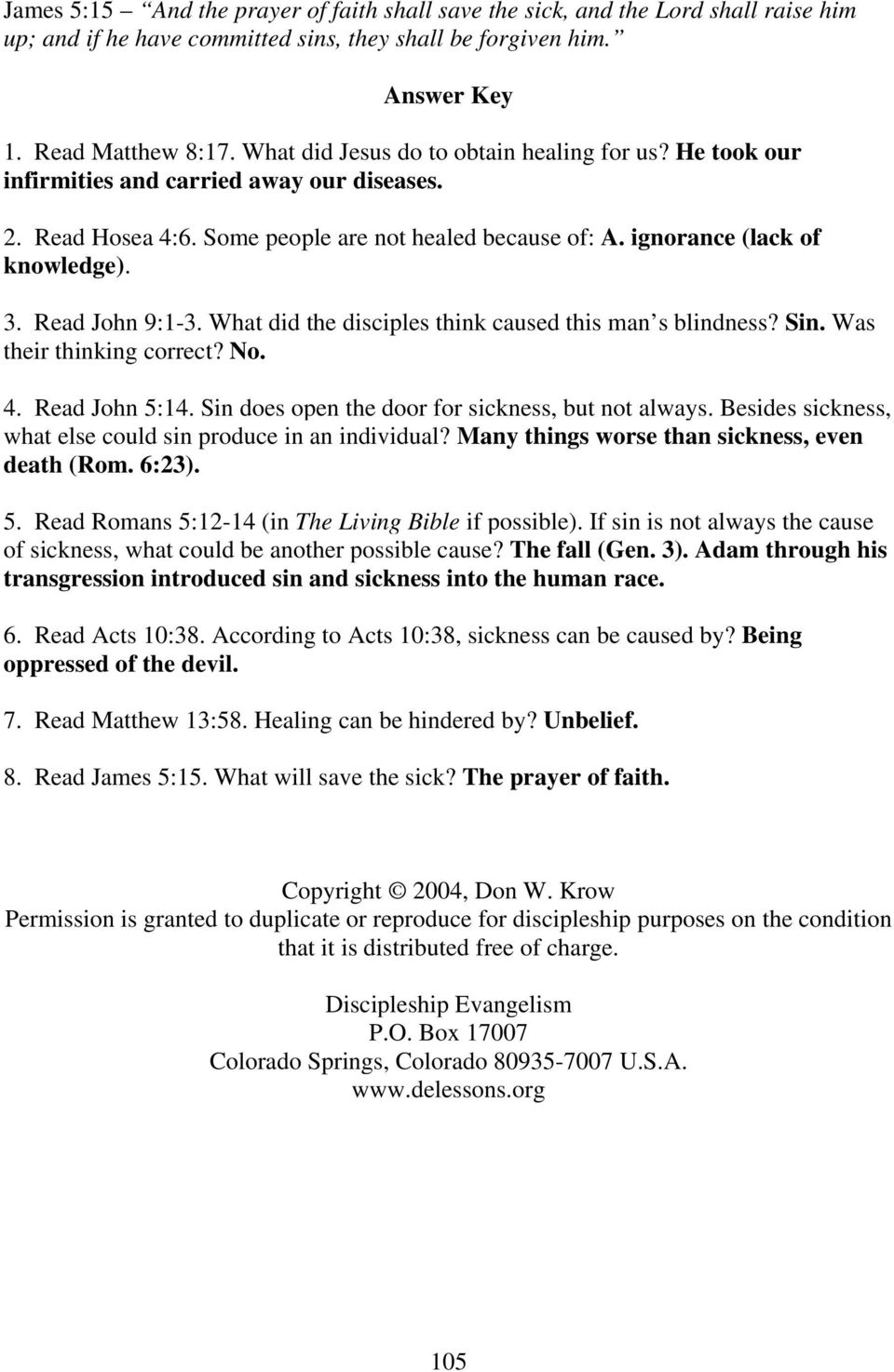 Level 2 Lesson 8  HINDRANCES TO HEALING By Andrew Wommack - PDF