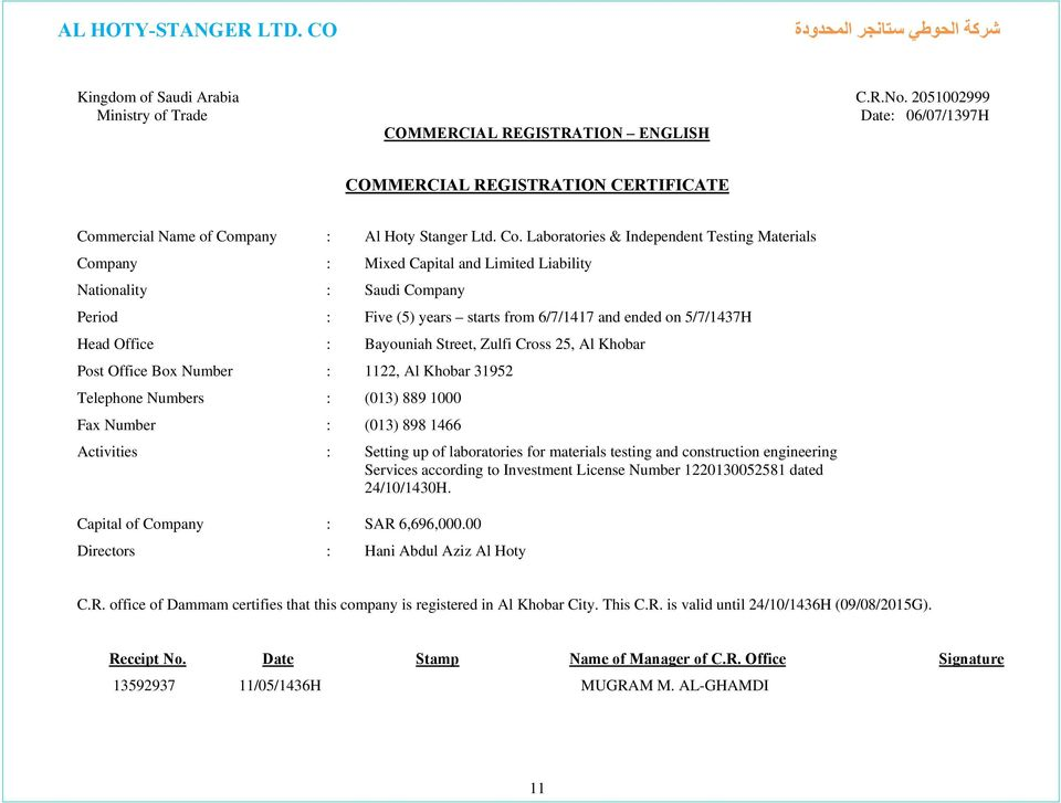 AL HOTY STANGER LTD CO  PREQUALIFICATION DATA AND COMPANY
