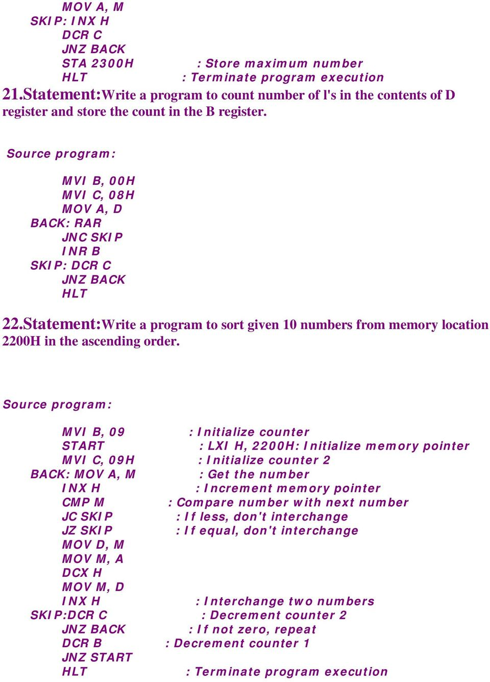 8085 Assembly Language Programs & Explanations - PDF