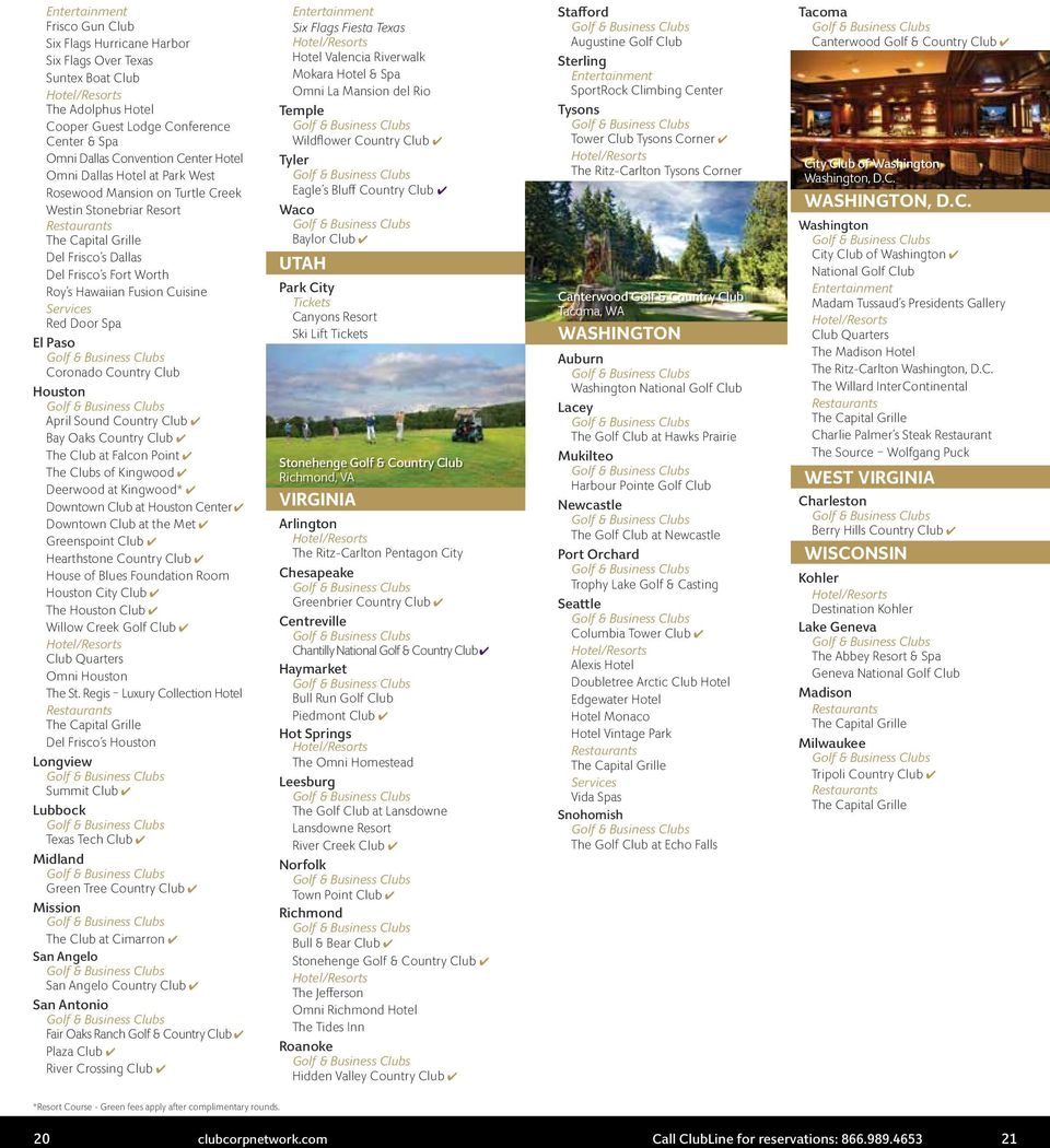 ClubCorp Network Benefits Guide  My Club  My Community  My