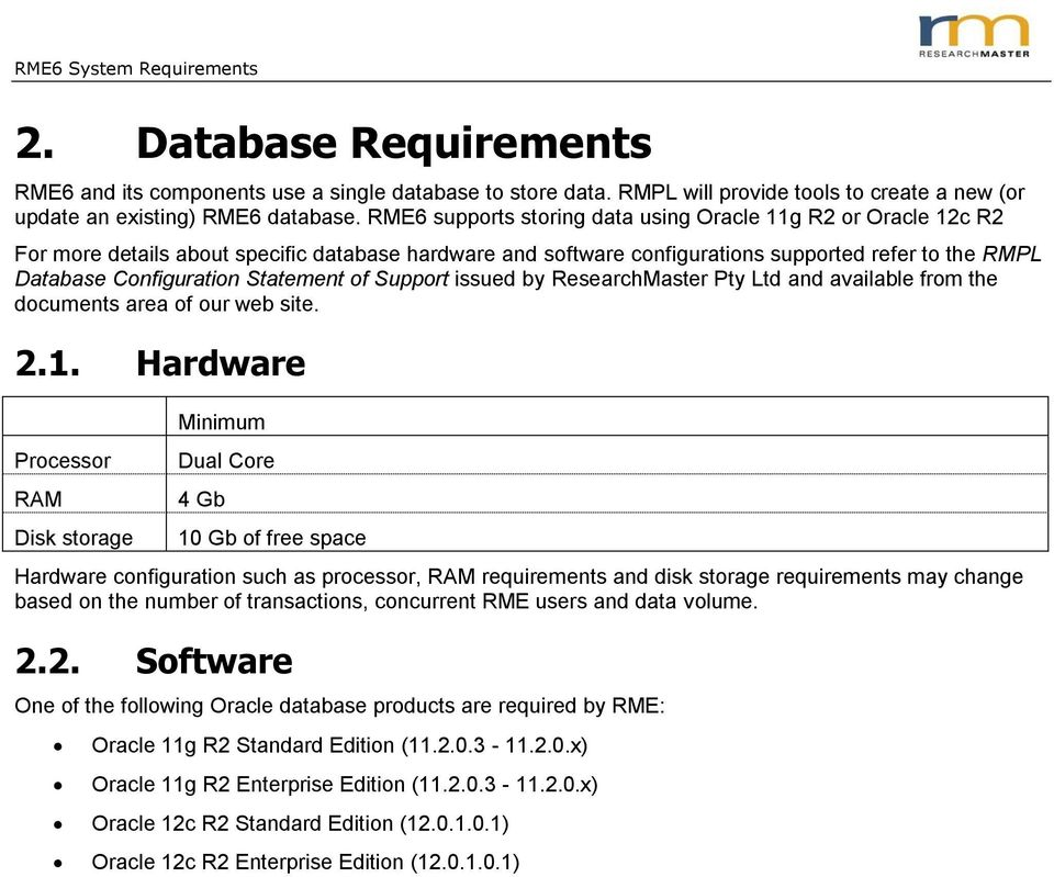 RME6 System Requirements - PDF
