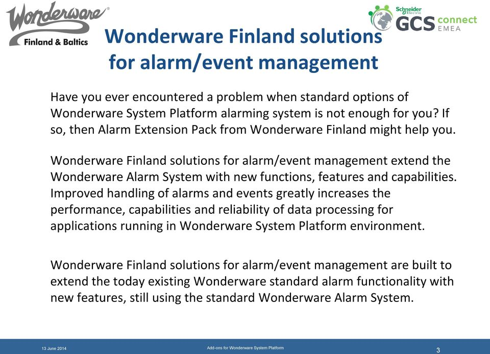 Add-ons for Wonderware System Platform from Wonderware Finland