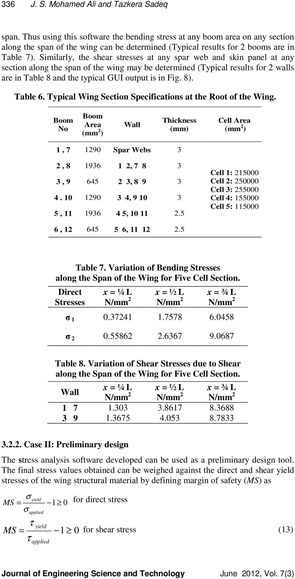 Development Of Educational Software For Stress Analysis An Shearing Force And Bending Moment Diagram Aircraft Wing Problem Similarly The Shear Stresses At Any Spar Web Skin Panel Section Along