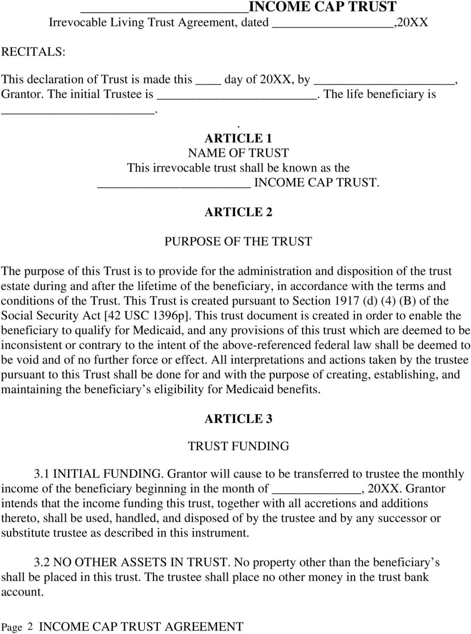 Irrevocable Living Trust Agreement Beneficiary Living Trust