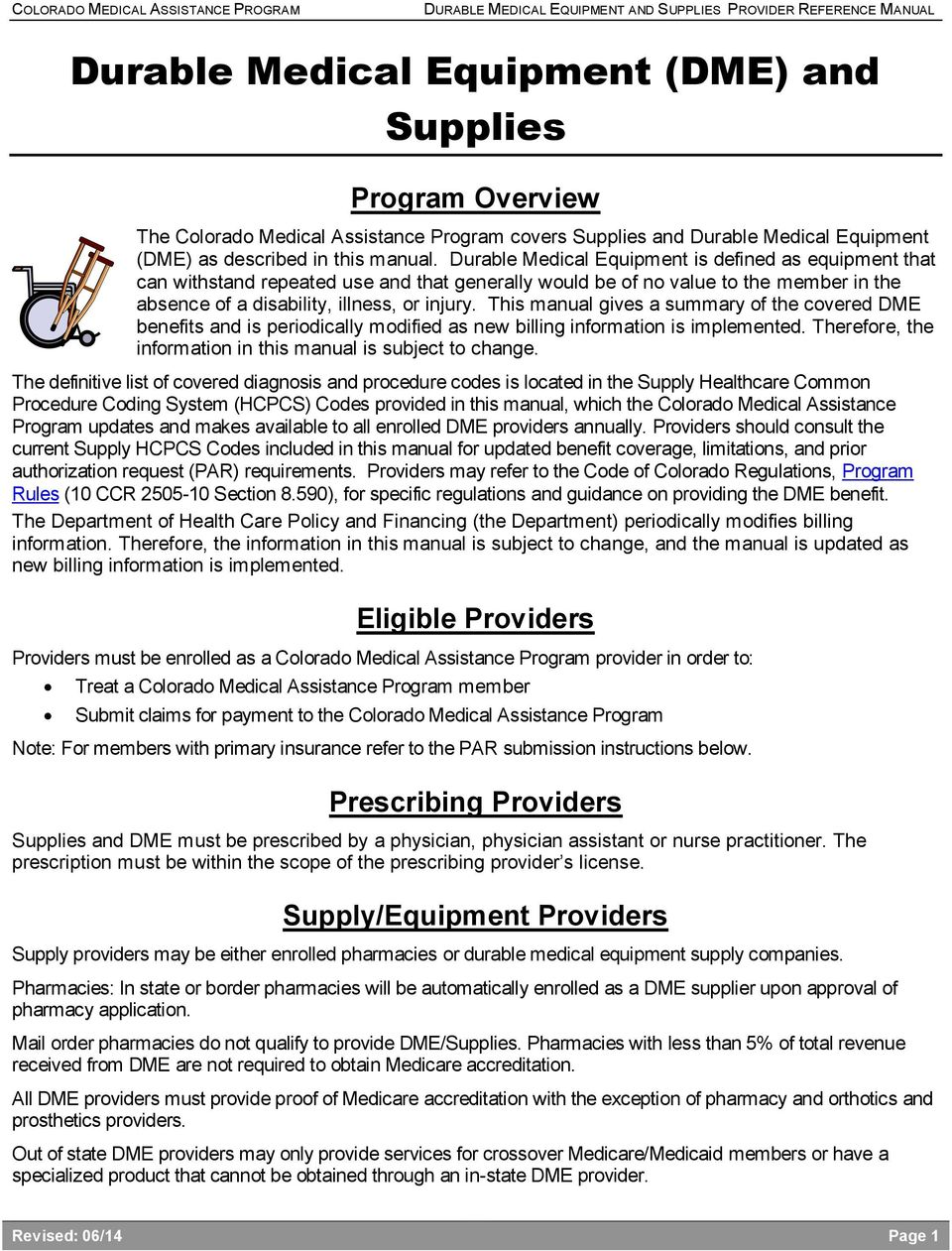 Durable Medical Equipment (DME) and Supplies - PDF
