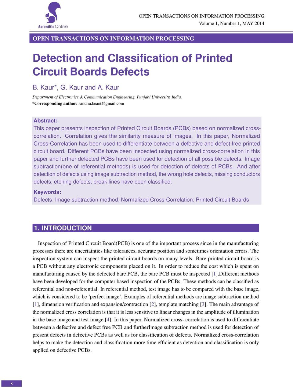 Detection and Classification of Printed Circuit Boards