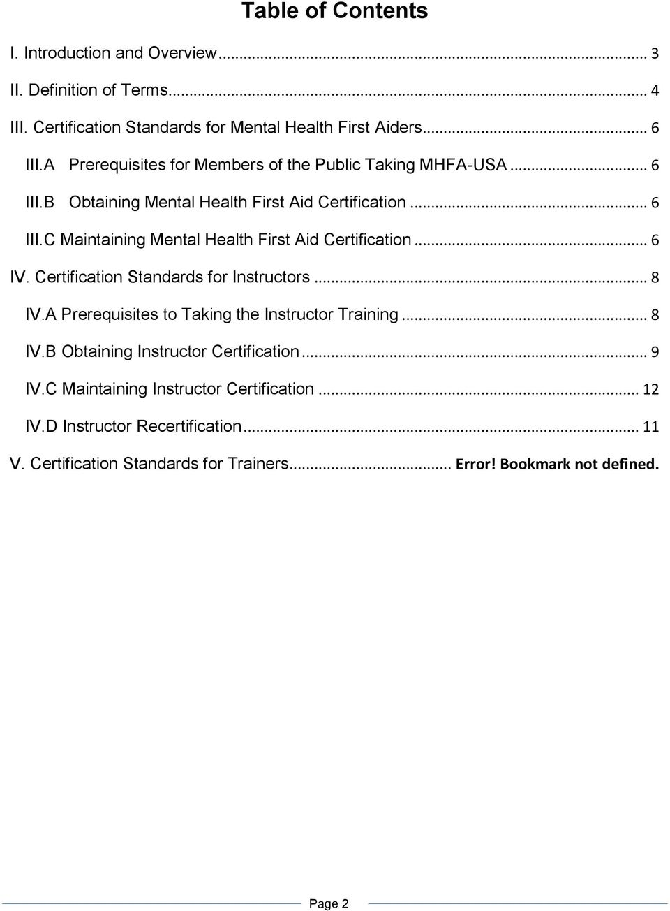 Mental Health First Aid Usa Certification Standards Pdf