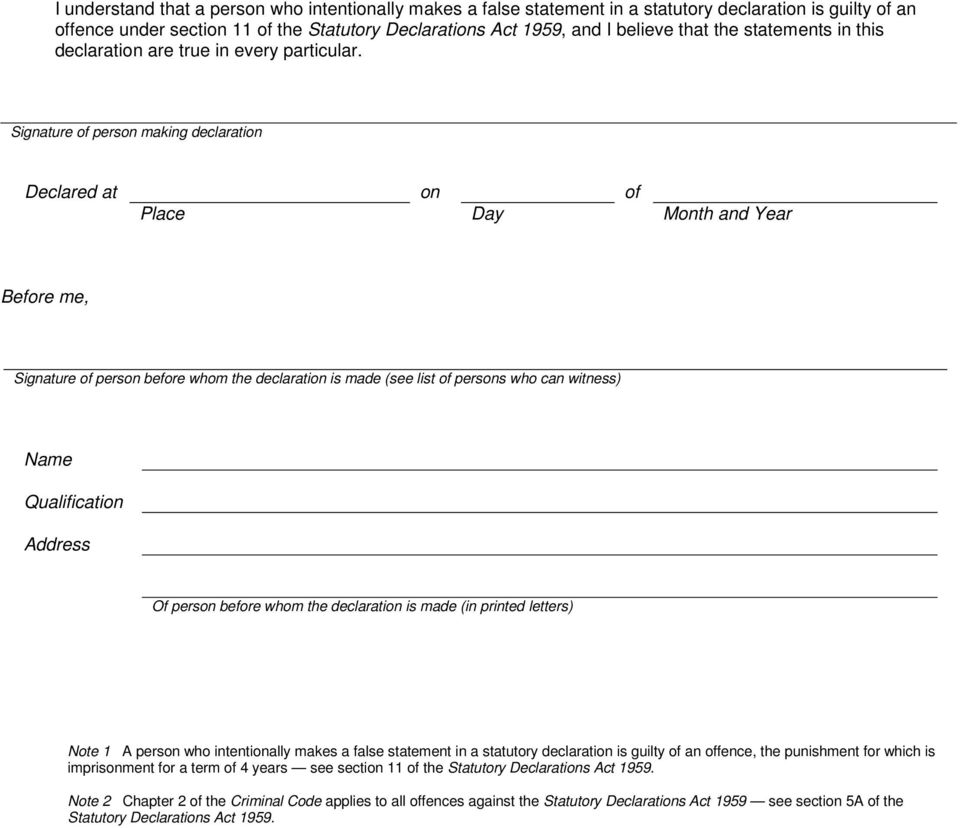 Guide to Statutory Declaration for claims by former members ...