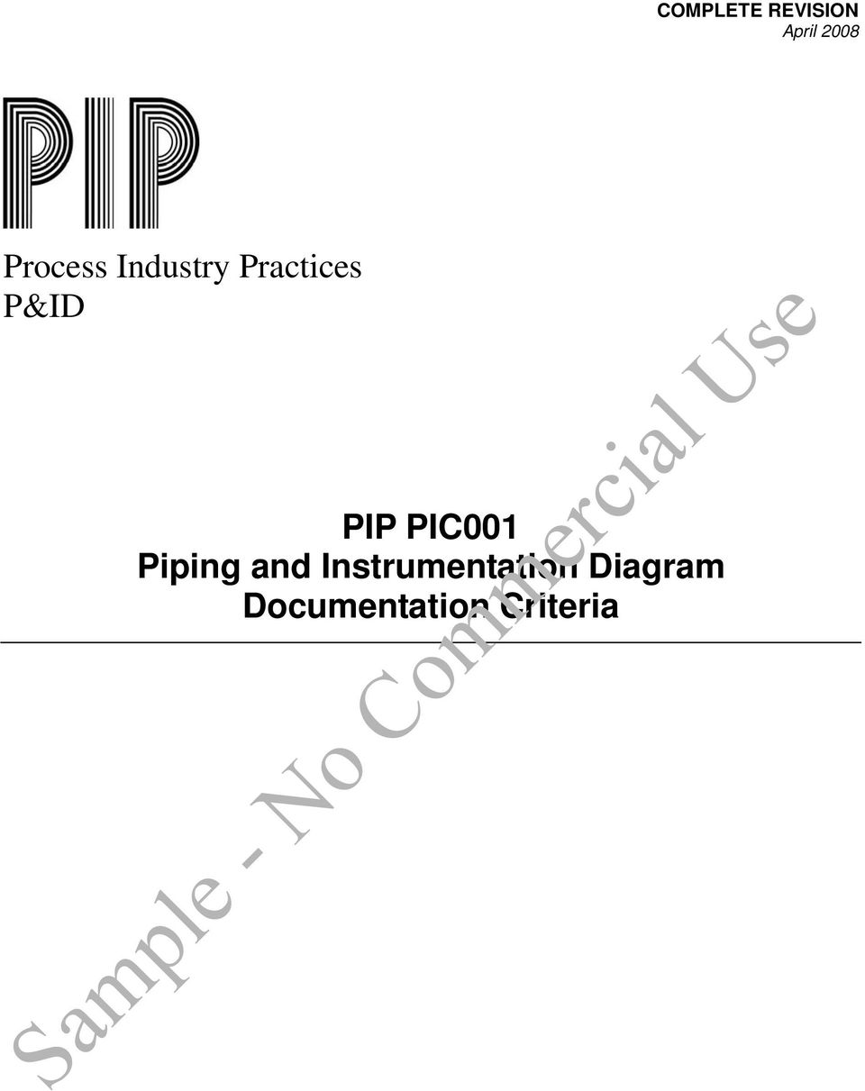 Sample No Commercial Use Process Industry Practices Pid Pip Logic Diagram In Isa Format Pic001 Piping And