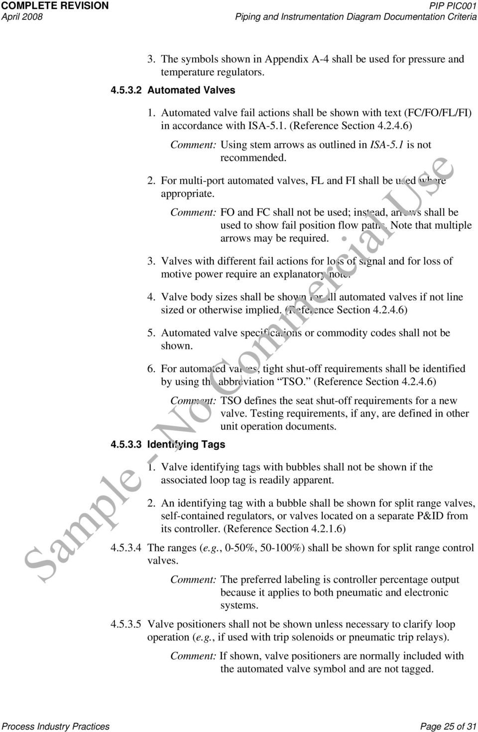 Sample No Commercial Use Process Industry Practices Pid Pip Logic Diagram In Isa Format For Multi Port Automated Valves Fl And Fi Shall Be Used Where Appropriate