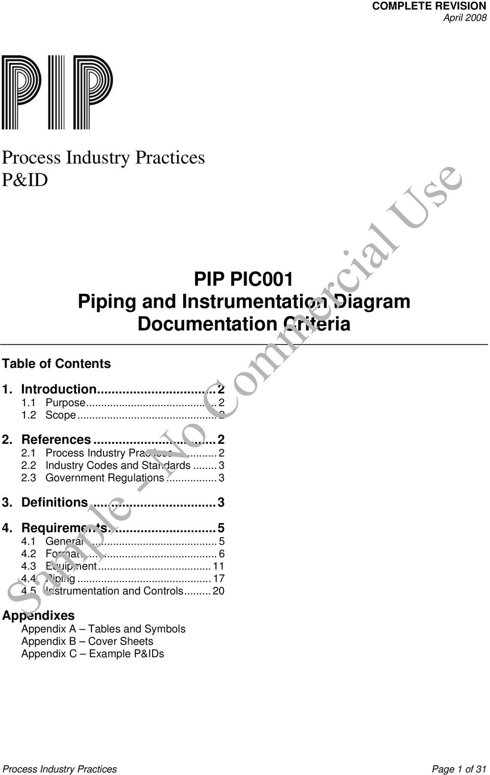 3 Government Regulations... 3 3. Definitions...3 4. 4 PIP PIC001 COMPLETE  REVISION Piping and Instrumentation Diagram ...