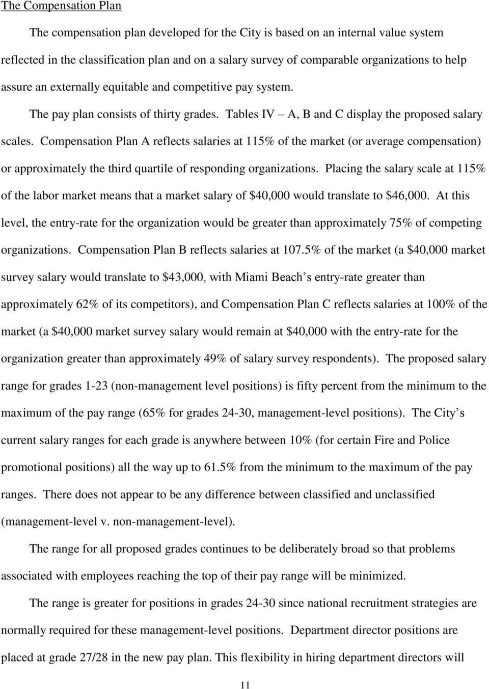 A JOB CLASSIFICATION AND COMPENSATION PLAN FOR THE CITY OF