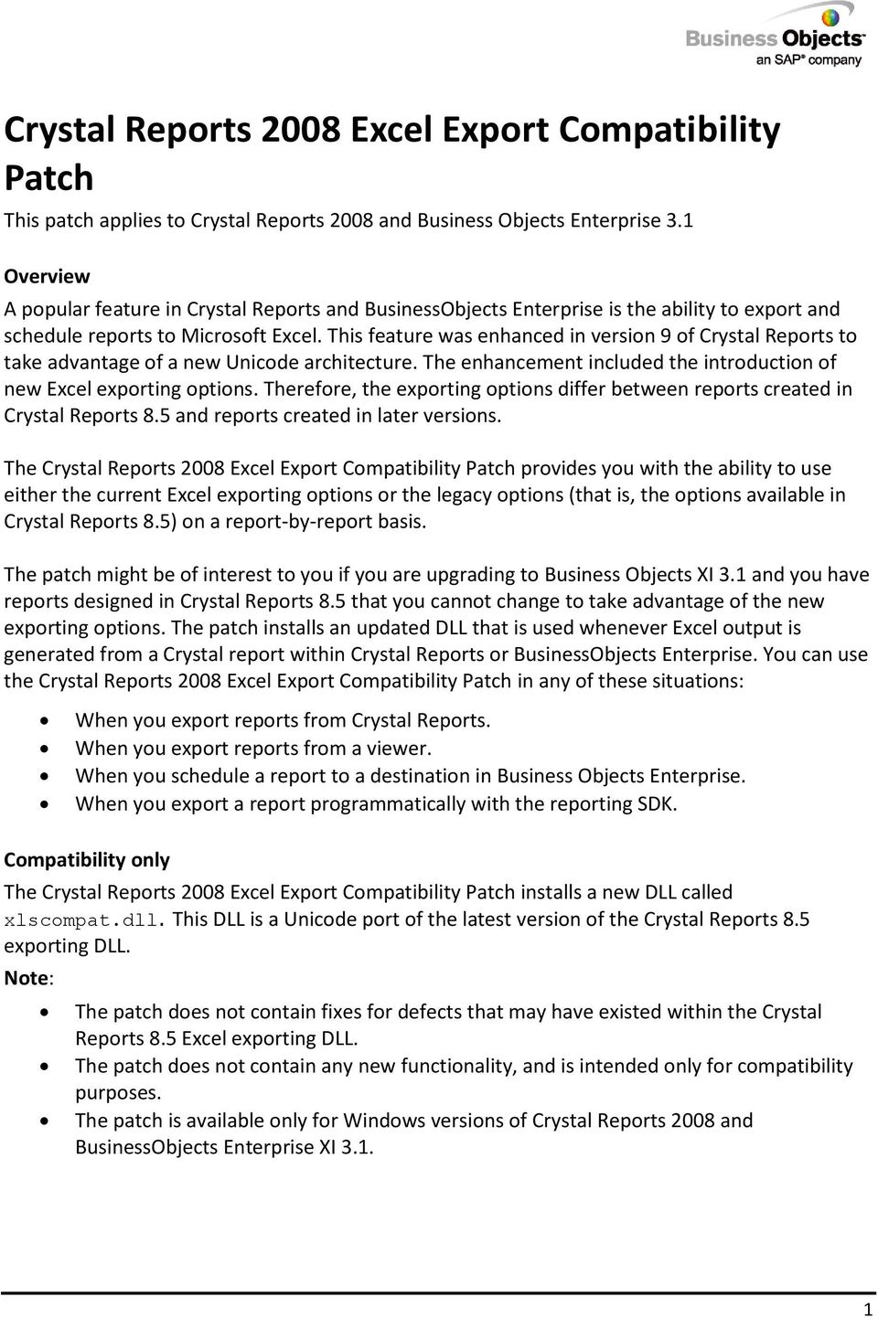 Crystal Reports 2008 Excel Export Compatibility Patch This