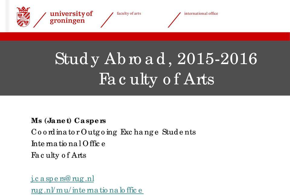 Study Abroad, Faculty of Arts - PDF