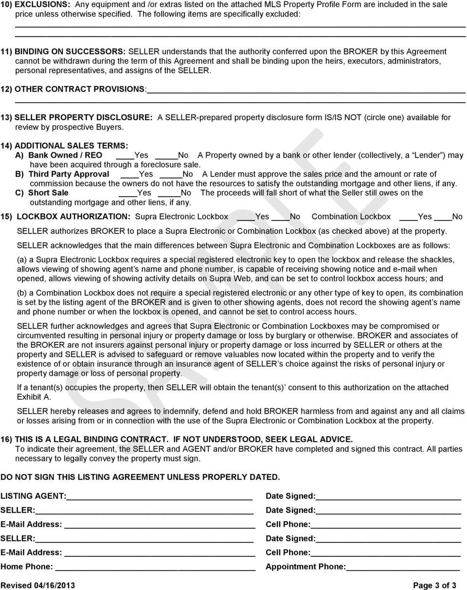 New Jersey Residential Listing Agreement Salelease Pdf