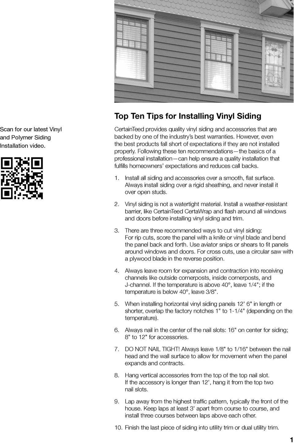 CertainTeed  Installation Guide  Vinyl and Polymer Siding - PDF