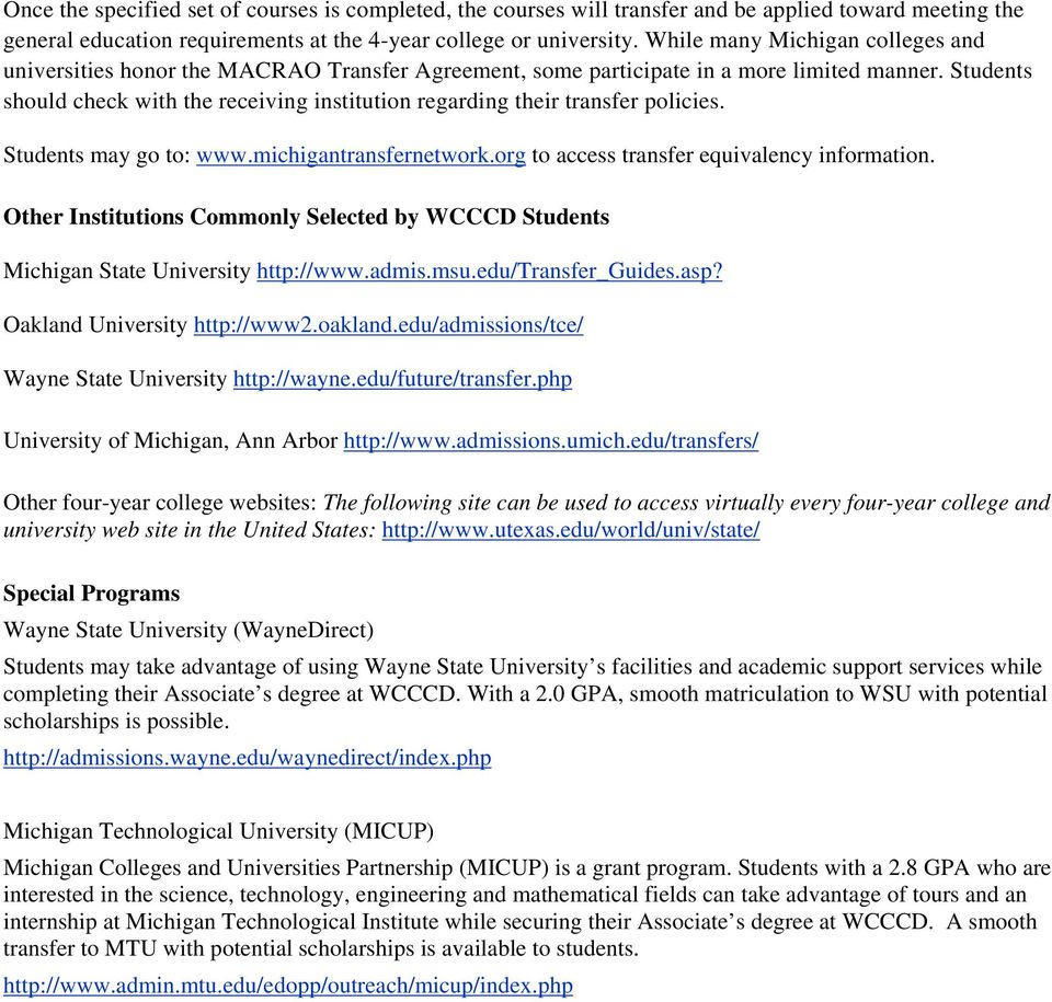Wayne County Community College District Transfer Articulation
