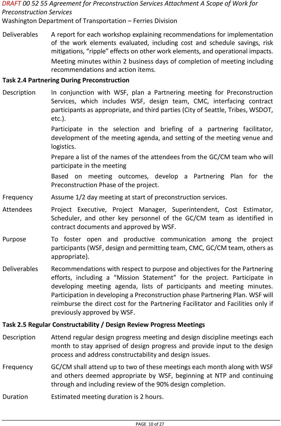 Attachment A Scope Of Work For Preconstruction Services Pdf