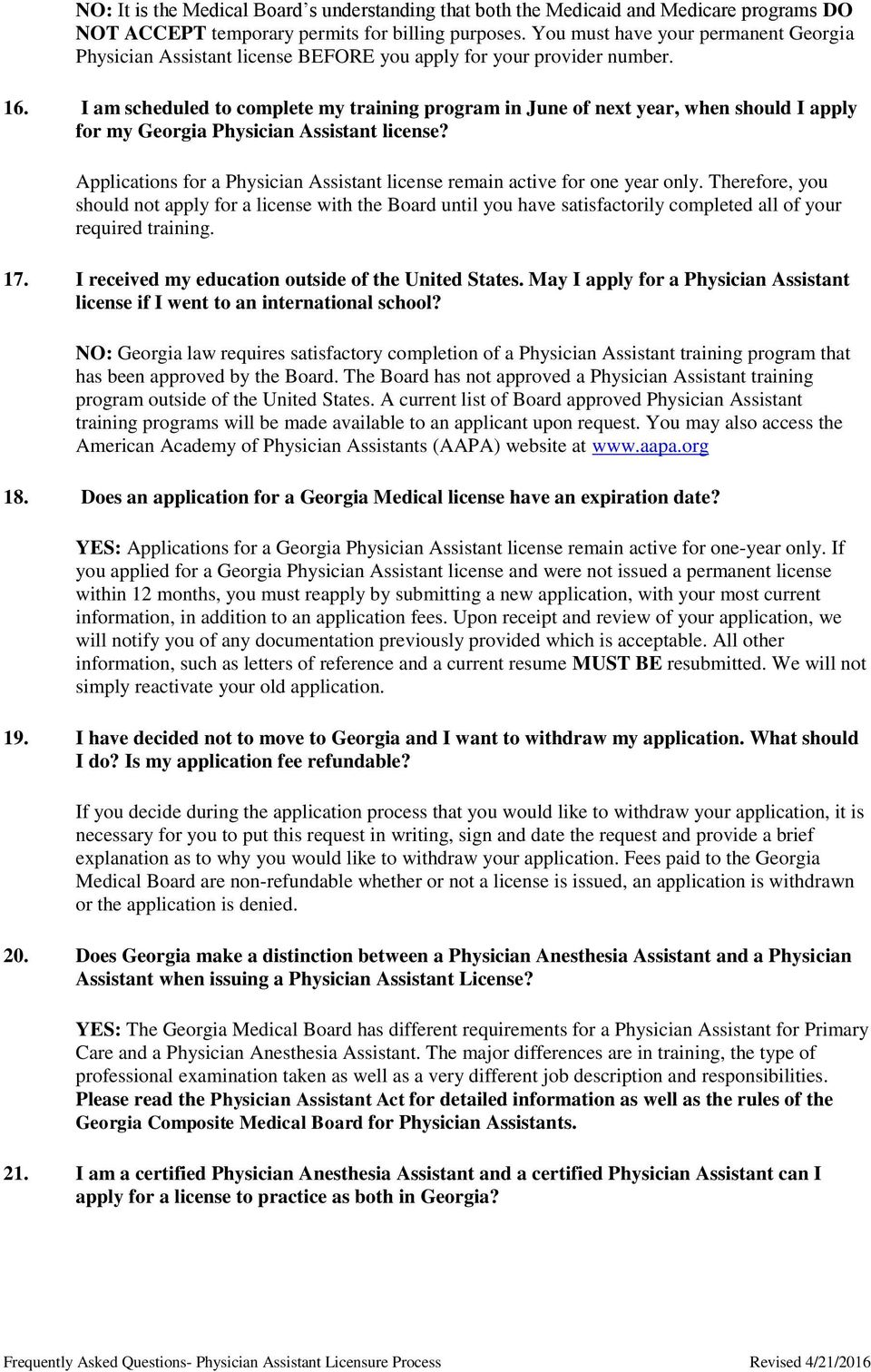 Frequently Asked Questions Physician Assistant Licensure Process Pdf