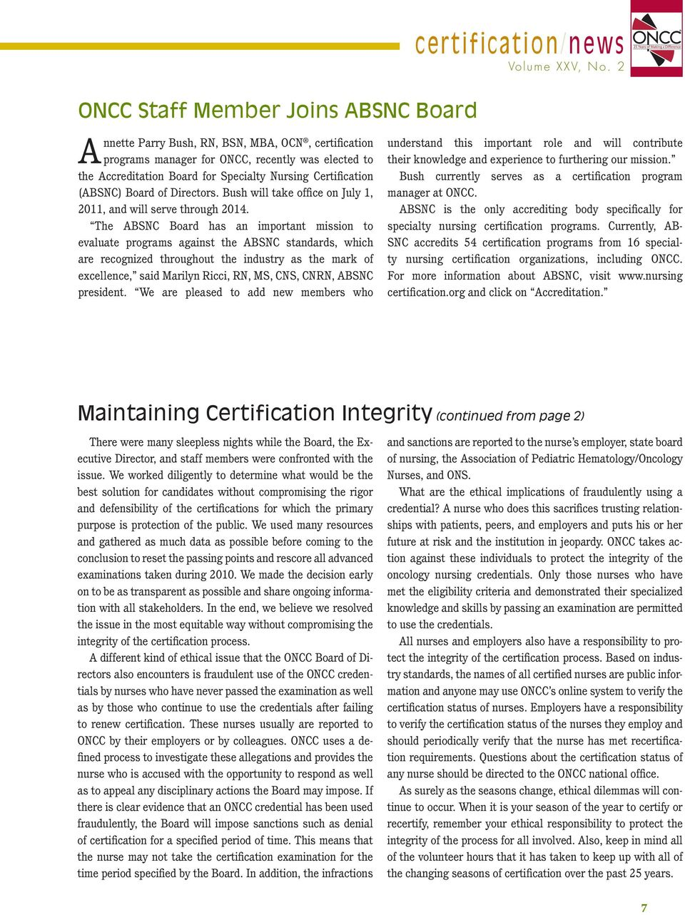 Certificationnews The Newsletter Of The Oncology Nursing