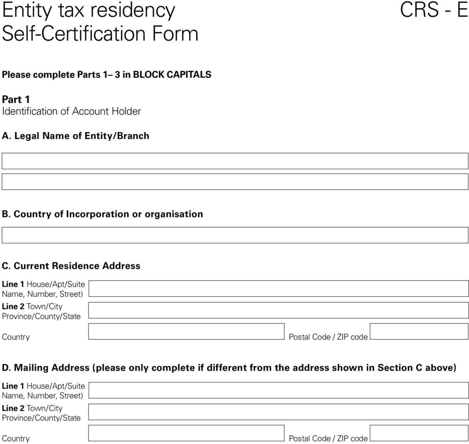Instructions Crs Entity Self Certification Form Pdf