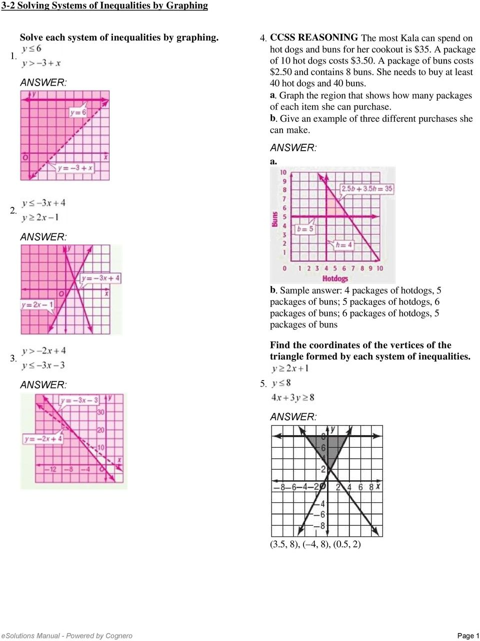 3-2 Solving Systems of Inequalities by Graphing. Solve each ...