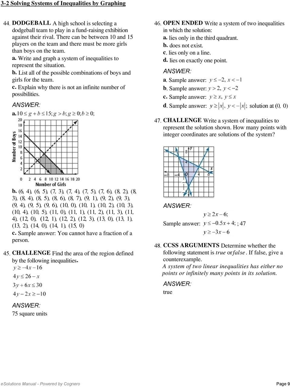 3 2 Solving Systems Of Inequalities By Graphing Solve Each System