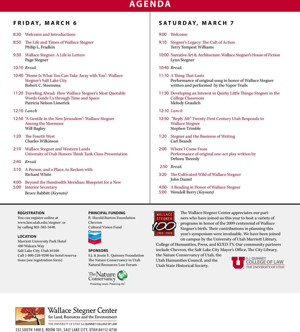 Wallace Stegner: His Life and Legacy  Friday & Saturday March 6-7