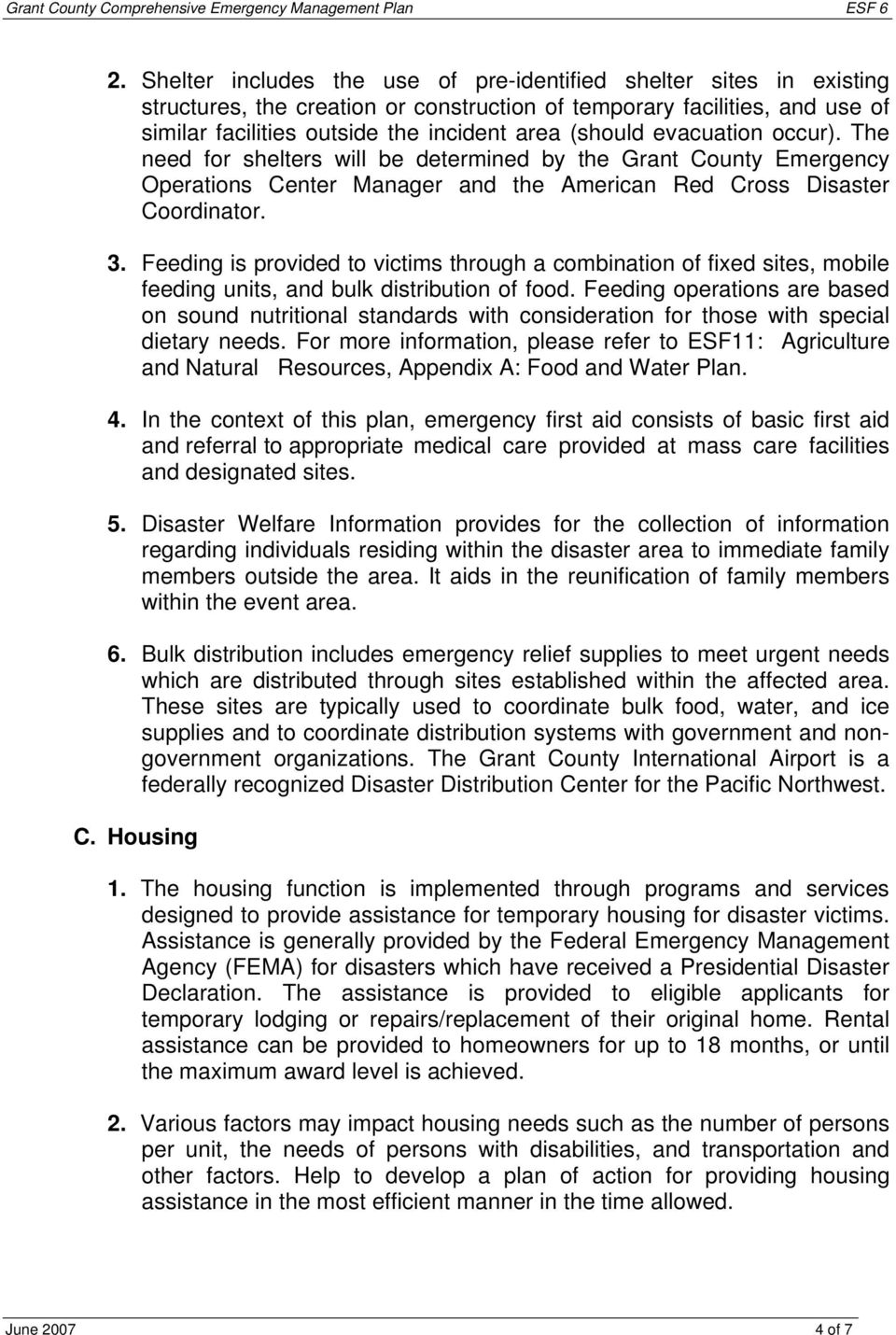 Emergency Support Function 6 Mass Care and Human Services - PDF