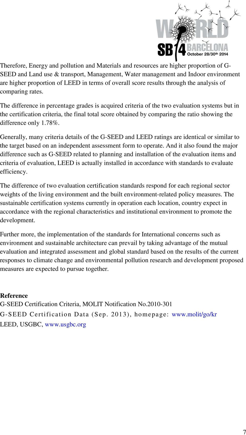 Comparison Criteria And Certified Scores Between G Seed And Leed