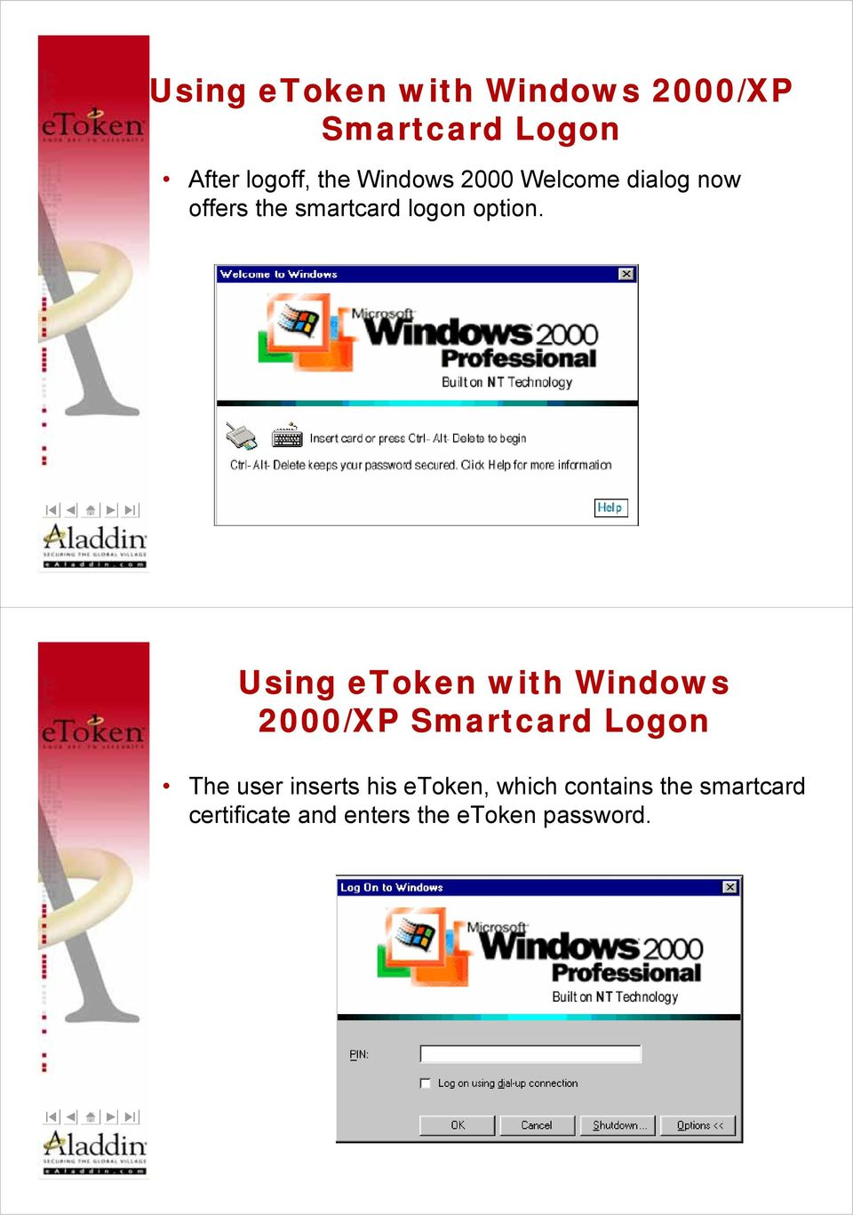 Using etoken with Windows 2000/XP Smartcard Logon The user inserts his