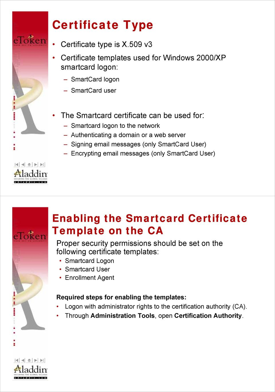 Authenticating a domain or a web server Signing email messages (only SmartCard User) Encrypting email messages (only SmartCard User) Enabling the Smartcard Certificate