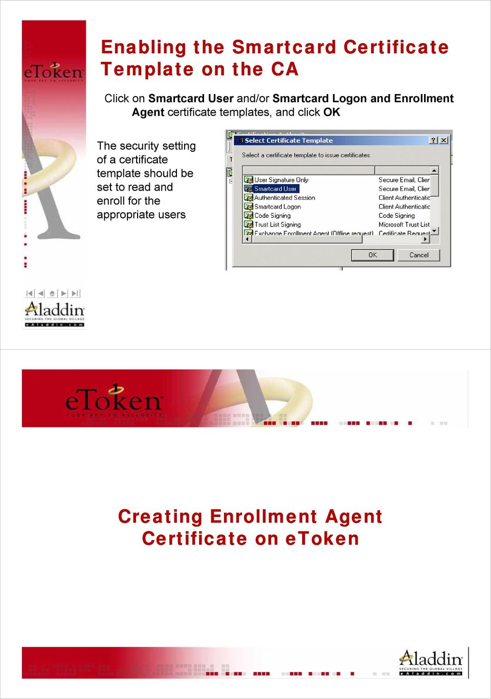 OK The security setting of a certificate template should be set to read and