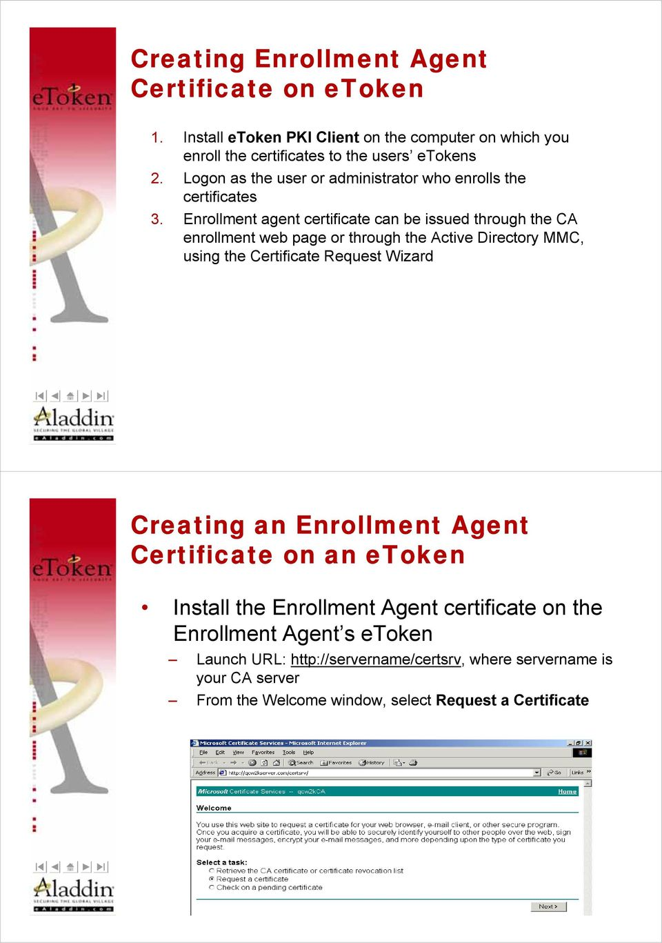 Enrollment agent certificate can be issued through the CA enrollment web page or through the Active Directory MMC, using the Certificate Request Wizard