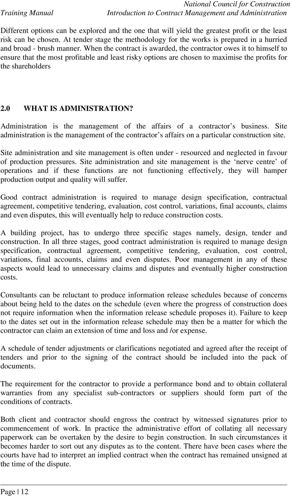 Module 003 Construction Contract Management And Administration Pdf