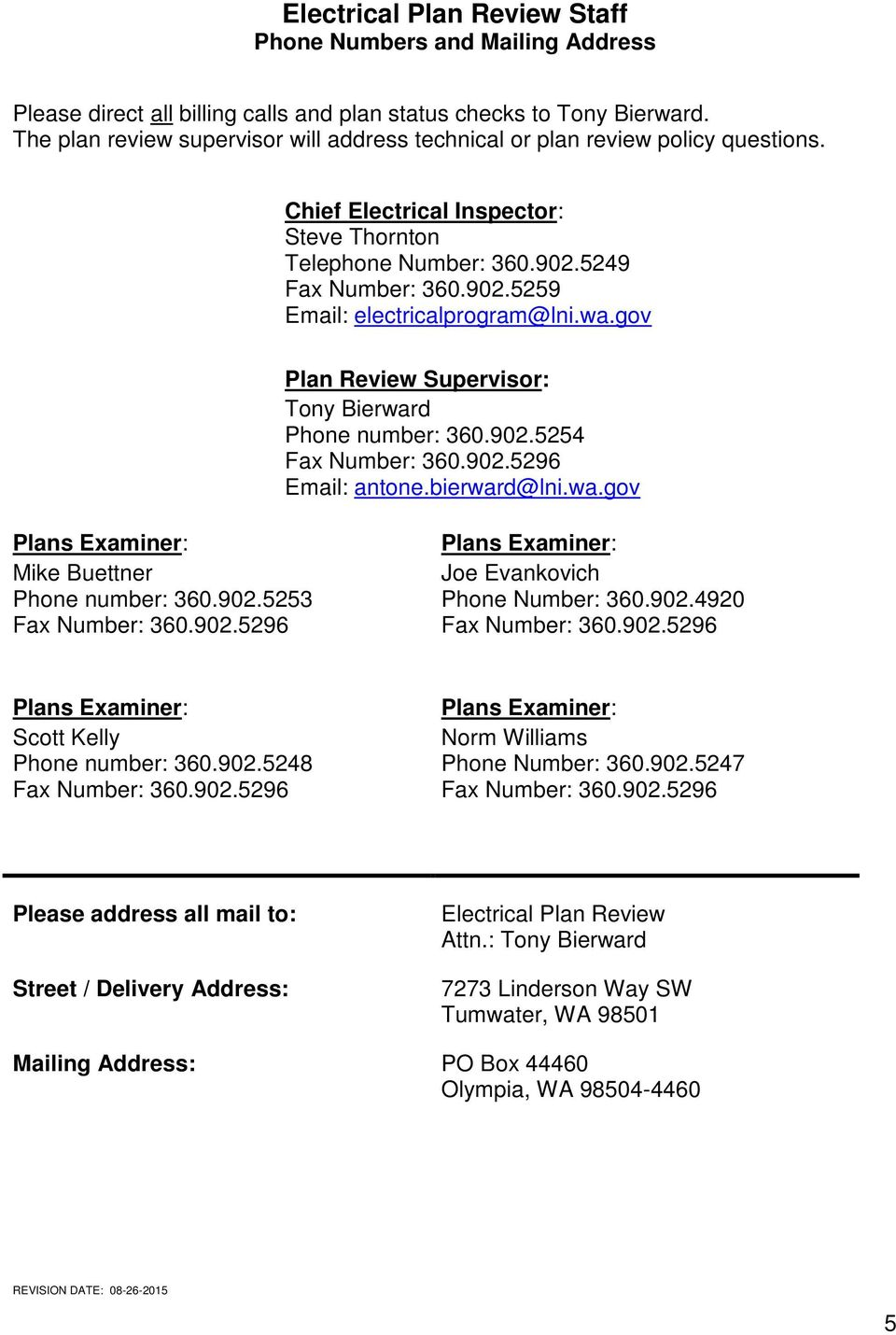 electrical plan review submittal guide pdf Spill Containment Plans wa gov plan review supervisor tony bierward phone number 360 902 5254 fax