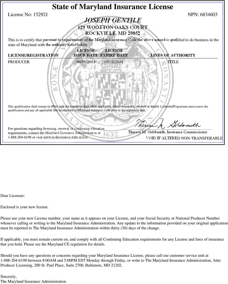 State Of Maryland Insurance License License No Npn Pdf Free