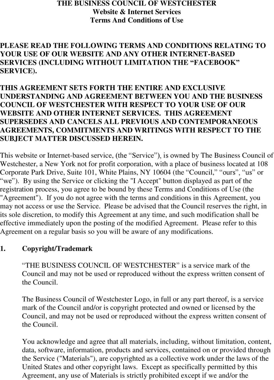 The Business Council Of Westchester Website Internet Services