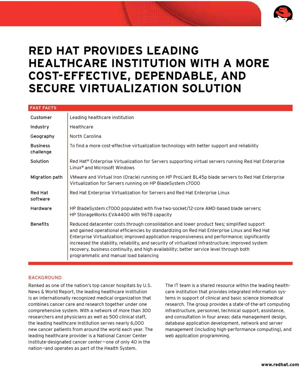 Enterprise Virtualization for Servers supporting virtual servers running Red Hat Enterprise Linux and Microsoft Windows VMware and Virtual Iron (Oracle) running on HP ProLiant BL45p blade servers to