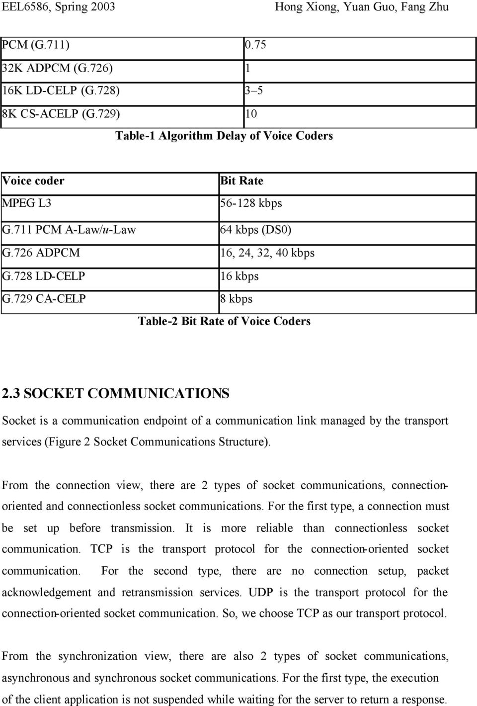 3 SOCKET COMMUNICATIONS Socket is a communication endpoint of a communication link managed by the transport services (Figure 2 Socket Communications Structure).