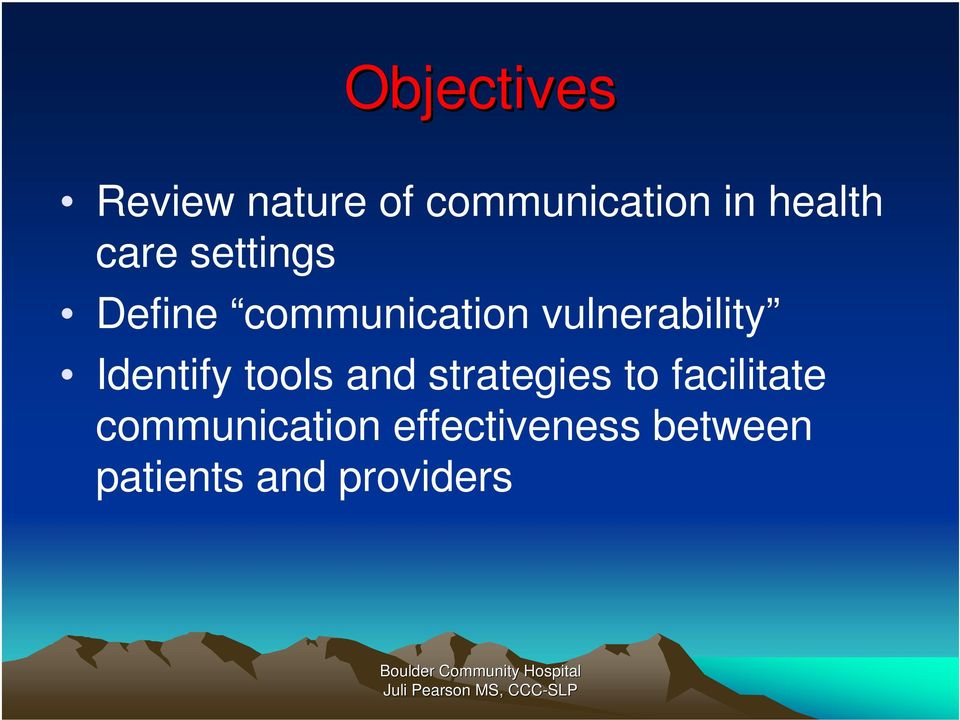communication in healthcare setting