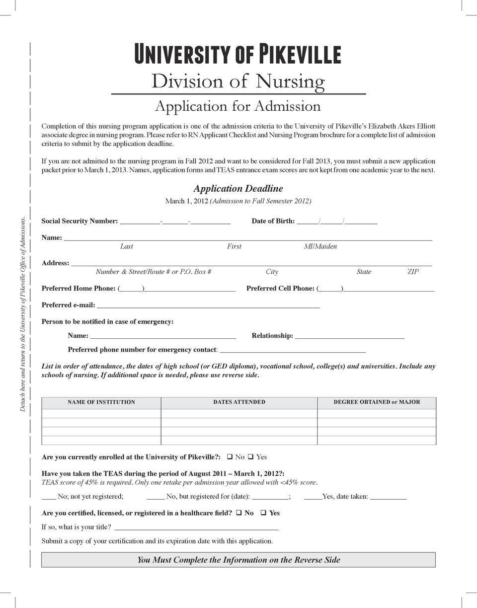 Please refer to RN Applicant Checklist and Nursing Program brochure for a complete list of admission criteria to submit by the application deadline.