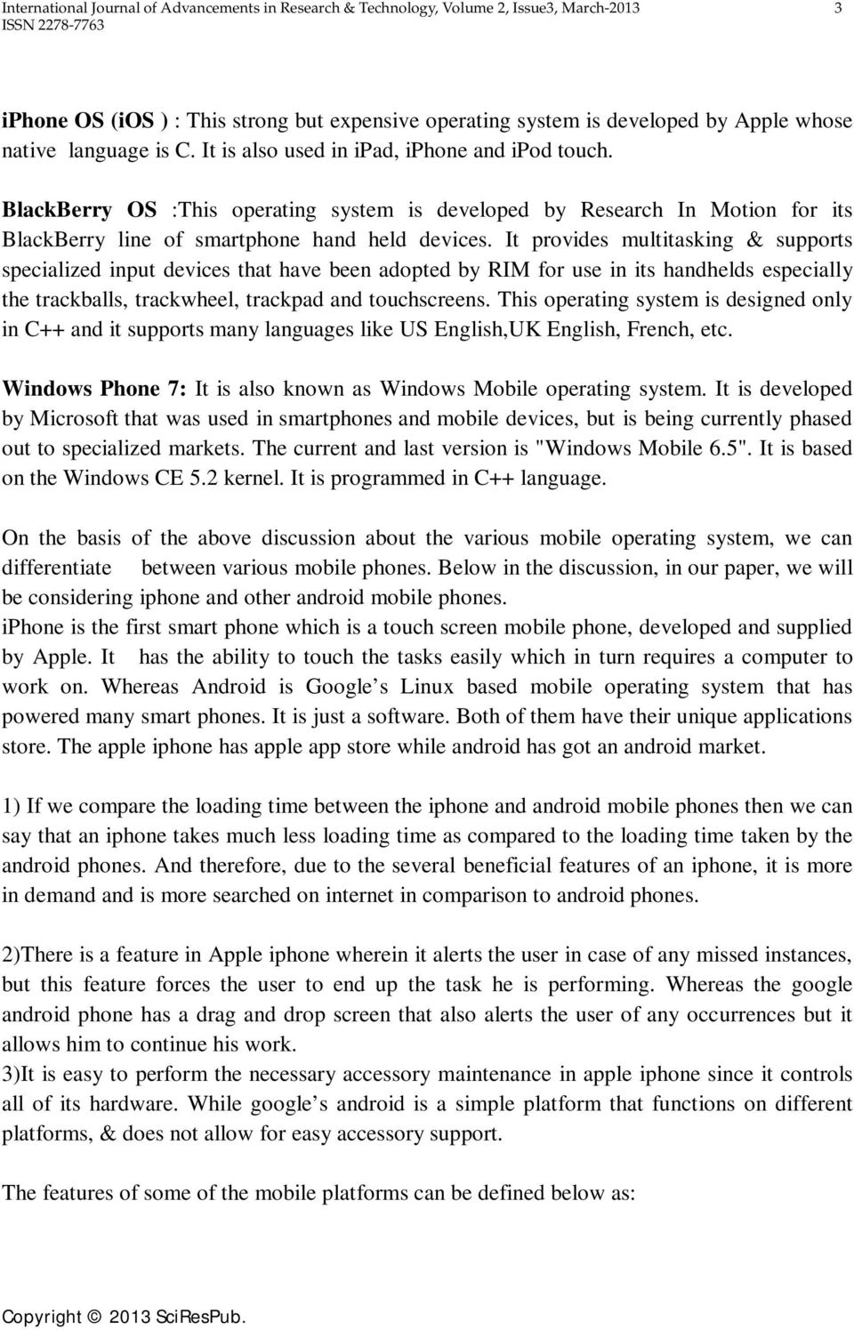 Comparative Study of Different Mobile Operating Systems - PDF