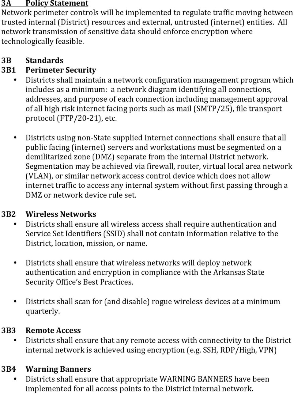 Security Management It Policy Itsp 1 Pdf Wireless Office Network Diagram 3b Standards 3b1 Perimeter Districts Shall Maintain A Configuration Program Which Includes As