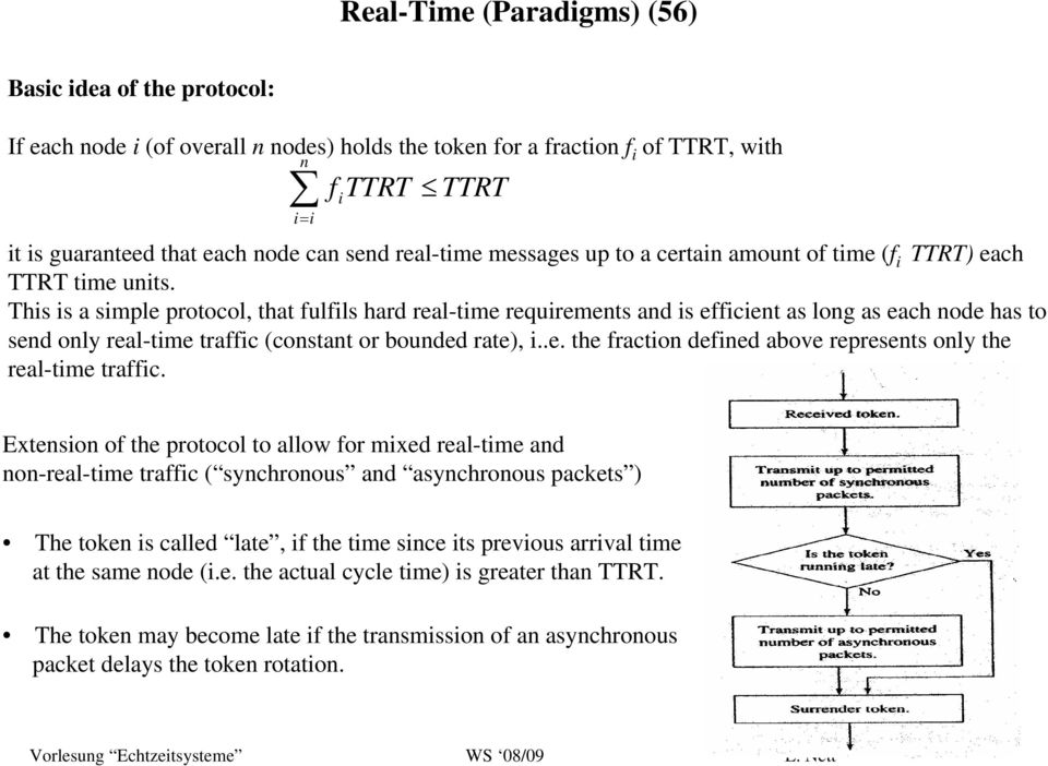 This is a simple protocol, that fulfils hard real-time requirements and is efficient as long as each node has to send only real-time traffic (constant or bounded rate), i..e. the fraction defined above represents only the real-time traffic.