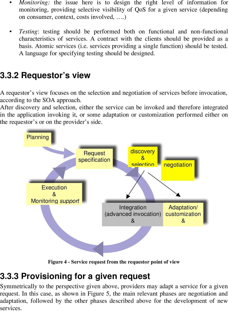 A language for specifying testing should be designed. 3.3.2 Requestor s view A requestor s view focuses on the selection and negotiation of s before invocation, according to the SOA approach.