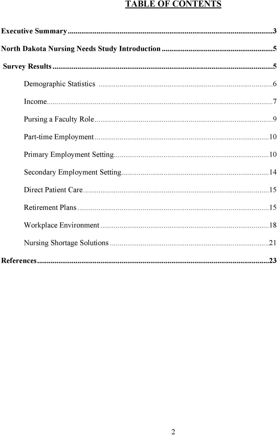 ..9 Part-time Employment...10 Primary Employment Setting...10 Secondary Employment Setting.